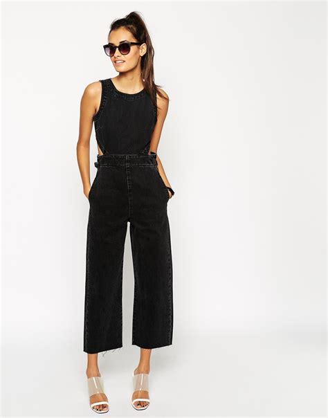 black wide leg jumpsuit asos denim wide leg cut out jumpsuit in washed black in