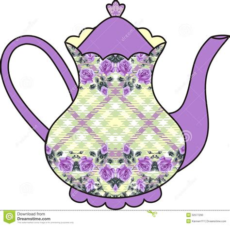 Floral Roses Teapot Time For Tea Shabby Chic Stock