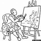 Portrait Self Easel William Coloring Hogarth Pages Thecolor Paint sketch template