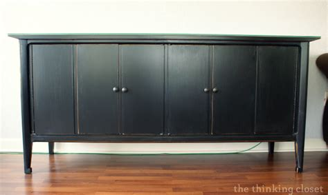black distressed sideboard black distressed buffet makeover the thinking closet 1677