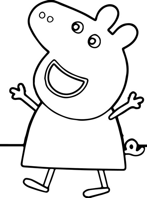 Peppa Pig Happy Coloring Page Wecoloringpage com