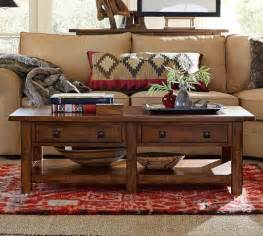 benchwright rectangular coffee table rustic mahogany
