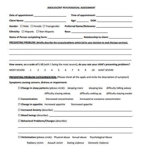 sample psychosocial assessments