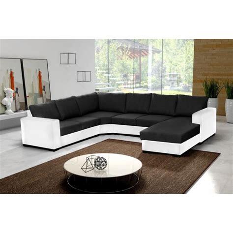 cdiscount canapé d angle cuir canapé d 39 angle 6 places oara en u noir et blanc tissu et simili cuir achat vente canapé