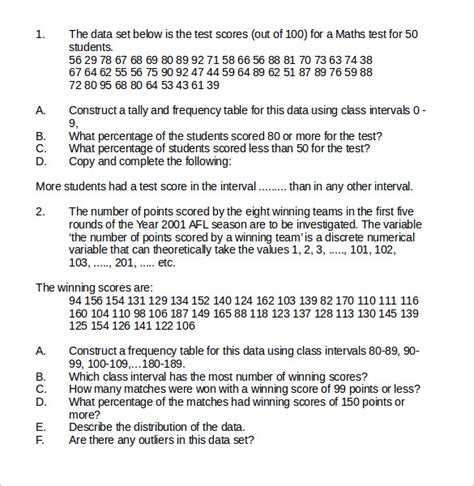 worksheets central tendency worksheet opossumsoft