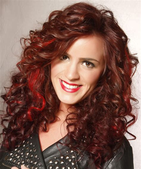 long curly casual hairstyle chocolate red hair color