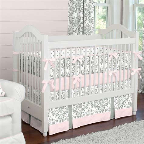 Pink And Gray Traditions Crib Skirt Two Front Pleats