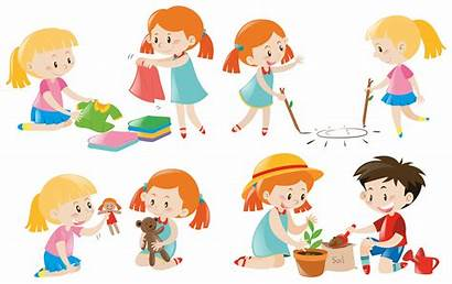 Activities Doing Different Vector Illustration Chores Clipart