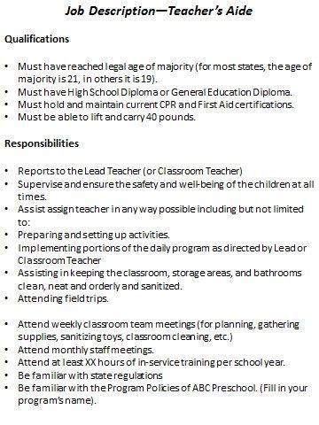 preschool job description resource templates preschool