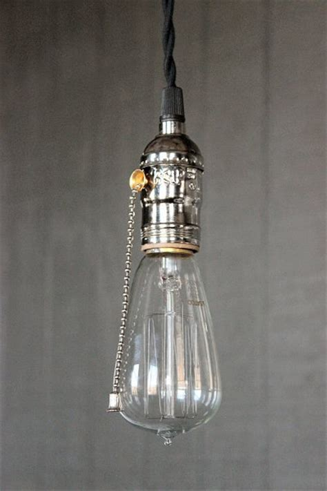 industrial bare bulb pendant light silver pull chain socket