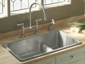 Overmount Kitchen Sinks Stainless Steel by Kohler K 6625 0 Iron Tones Smart Divide Self Rimming Or