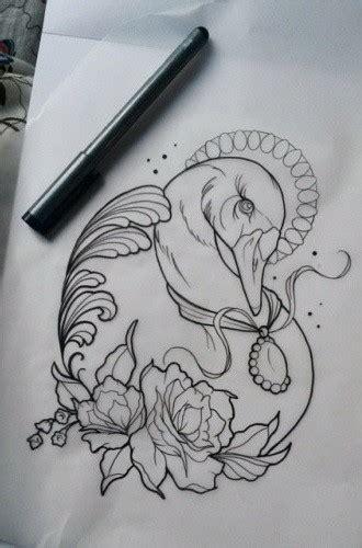 traditional outline swan  gem medallion  roses