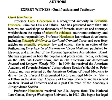 100 expert witness testimony resume