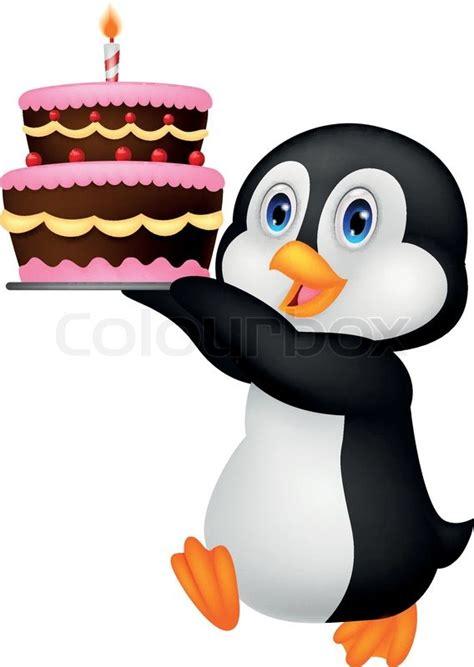 vector illustration  cute penguin cartoon holding