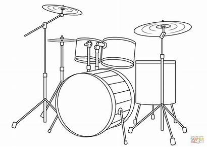 Coloring Drum Kit Pages Printable Drawing Musical