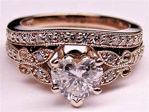 engagement ring heart shape diamond butterfly vintage With vintage gold wedding ring