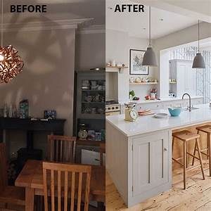 before, and, after, , from, cramped, galley, kitchen, to, supersized, extension
