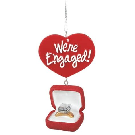 we re engaged engagement ring box christmas ornament