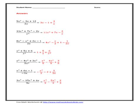Divide The Polynomials By Monomials Worksheet For 8th  10th Grade  Lesson Planet