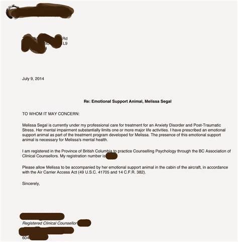 sample letter  emotional support dog sample business