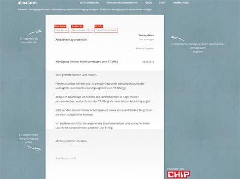 kuendigung arbeitnehmer vorlage  chip