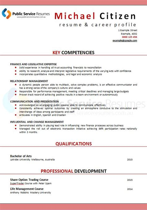 Nsw Service Resume Template by Service Resume 131 187 Service Resumes Government Application Specialists