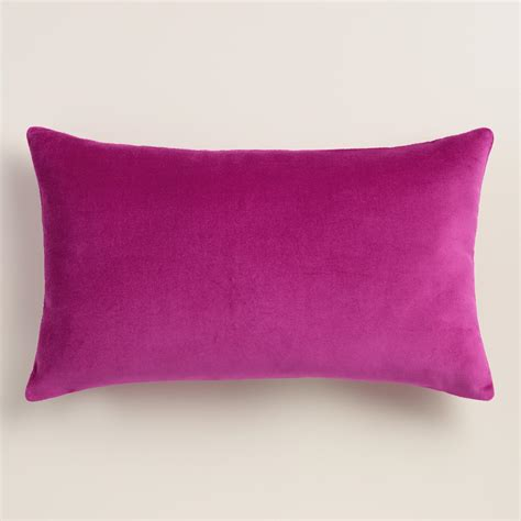 purple lumbar pillow aster velvet lumbar pillow world market