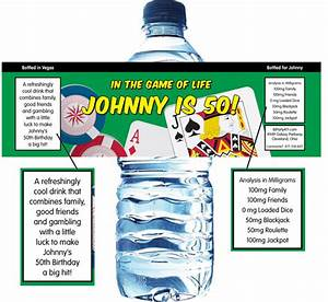 casino cards party theme water bottle label With casino water bottle labels