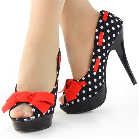 womens blue peep toe white polka dots bow platform shoes