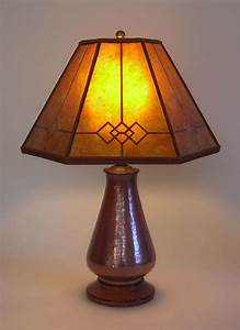 Copper, Small, Table, Lamp, Amber, Windowpane, Mica, Mission, Lamp, Shade