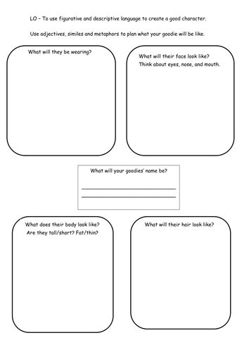 creating a goodie character worksheets by 4877jessie teaching resources tes