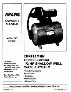 Sears Water System 390 2521 User Guide