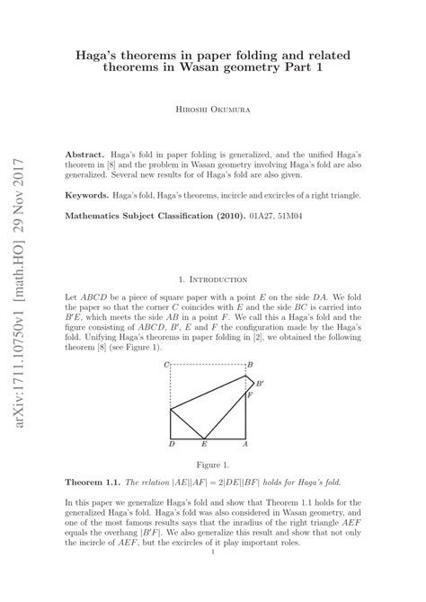 hagas theorems  paper folding  related