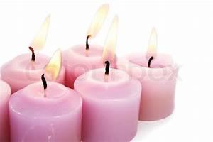 Pink burning candles isolated on white background   Stock ...