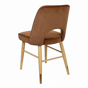 Sedie Design In Velluto Color Nocciola  Set Da 4