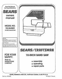 Sears Saw 113 244501 User Guide