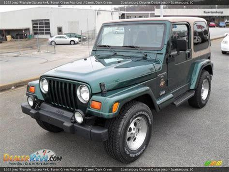 dark green jeep 1999 jeep wrangler sahara 4x4 forest green pearlcoat