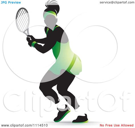 clipart silhouetted female tennis player   green outfit royalty  vector illustration