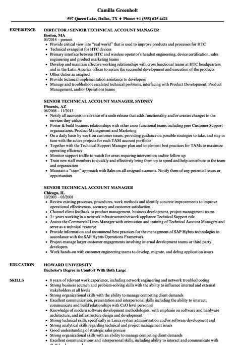 Technical Manager Resume by Senior Technical Account Manager Resume Sles Velvet