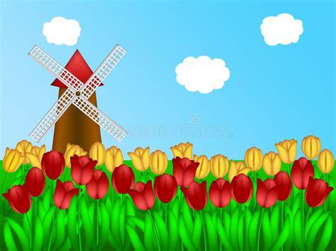 dutch windmill  tulips field farm illustration stock