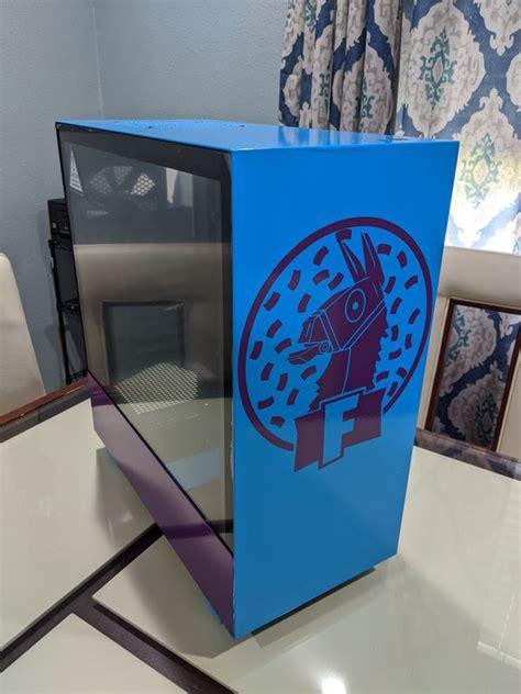 custom nzxt  gaming pc desktop case fortnite theme