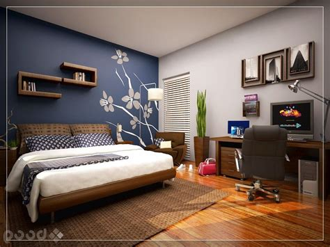 Bedroom Wall Paint Ideas, Cool Bedroom With Skylight Blue Accent Wall Mural Home Properti