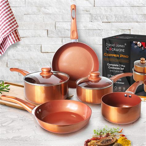 piece copper pan set  stick aluminium induction hob ceramic stainless steel ebay