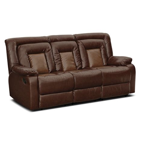 sofa bed sectional with recliner furniture faux dark brown leather reclining sectional
