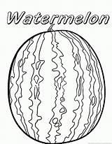 Watermelon Coloring Printable Fruit Template Sheets Summer Cartoon Preschool Templates sketch template