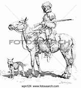 Trapper Clipart Dog Drawing Clipground Rifle Illustration Frederic Remington sketch template