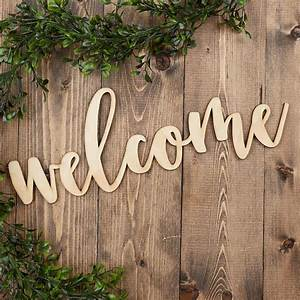 Unfinished, Wood, U0026quot, Welcome, U0026quot, Word, Sign, -, Decorative, Accents