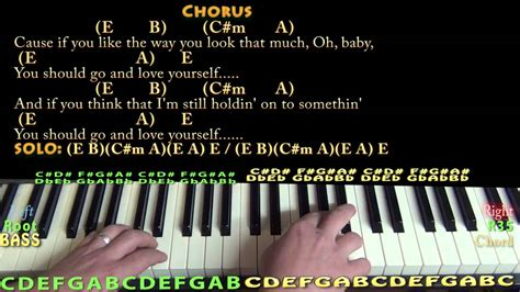 Love Yourself (justin Bieber) Piano Cover Lesson In E With Chords/lyrics
