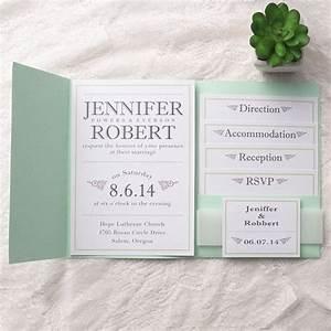 cheap modern simple green pocket wedding invitations With cheap wedding invitations with inserts