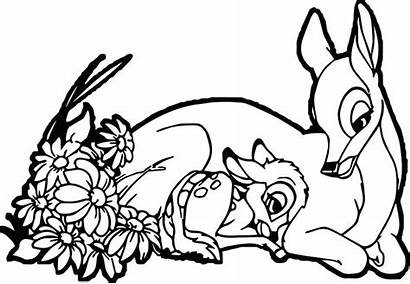 Coloring Pages Bambi Mother Deer Mom Child